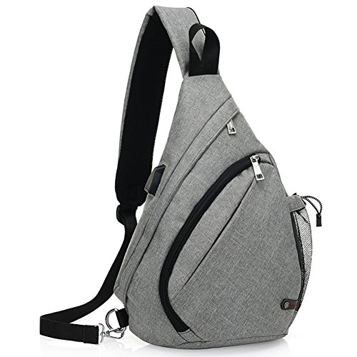 KARRESLY Canvas Sling Bag Chest Shoulder Unbalance Gym Triangle Packs Backpack Outdoor Bike with USB Cable(Grey1) by KARRESLY