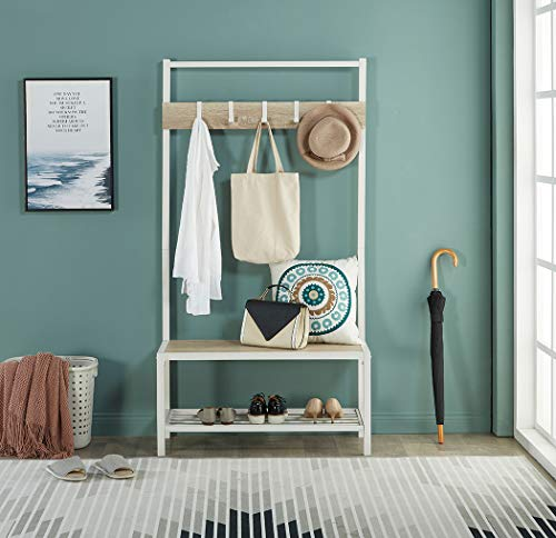 Homissue Modern Style 2 Shelf Hall Tree with Storage Bench, Light Oak Bench and Lower Shelf with White Steel Frame, Entryway Shoe Rack with 5 Hooks for Garments - Modern Style with Simple Design: Made of white steel frame and MDF, wood grain (Not solid wood), add this elegant hall tree to the entryway or hallway to complement a fashionable aesthetic. Versatile Hall Tree with Bench: It not only works great as a shoe bench in the entry, but also can be an extra storage shelf to keep several pairs of shoes or baskets for daily items and accessories in your living room Reliable Construction:Its sturdy metal frame allows the whole clothes rack more durable and stable to hold up to 230 lbs; shoe bench has a weight capacity of 180 lbs - hall-trees, entryway-furniture-decor, entryway-laundry-room - 514ImJXW3GL -