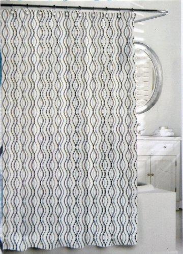 Kassatex Wavy Stripe Shower Curtain, Blue/Grey, 72 by 72-Inch