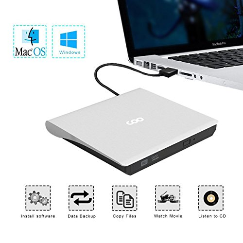 CD Drive, COO USB 3.0 External CD Drive Portable CD DVD +/-RW Drive Slim DVD/CD Rom Rewriter Burner High Speed Data Transfer External DVD Drive for Laptop Macbook Pro/Desktop Windows 7/8/10 (White) by COO (Image #2)