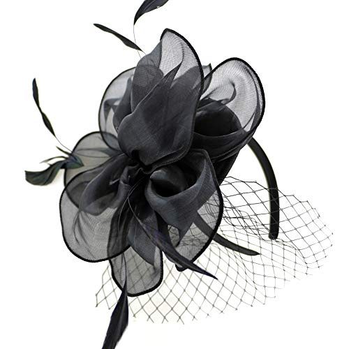 (Black Nude Fascinator Sinamay Bridal Wedding Headband Cocktail Feather Mesh Net Veil Party Flower Clip Kentucky Derby Hat for Women Ladies Girls)