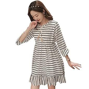 9a672c601 ZEVONDA Embarazo Vestido Lactancia Mujer - Moda Encaje Raya Premamá Blusa  Maternidad de Manga Larga Camiseta Vestidos Verano  Amazon.es  Ropa y  accesorios