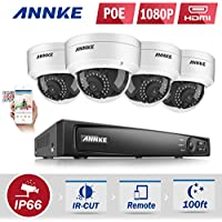 ANNKE 4CH 1080P IP PoE NVR Security Camera System and (4) 2.0MP 1920TVL Surveillance Camera with IP66 Weatherproof Metal Housing-White