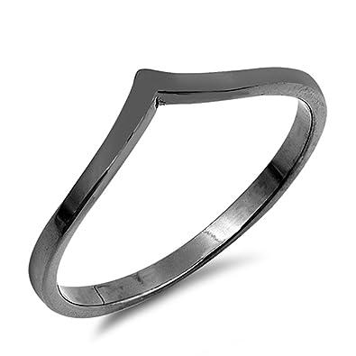 Amazon Black Tone Pointed Chevron Thumb Ring Sterling Silver