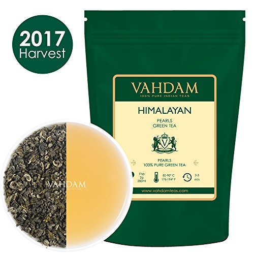 Himalayan Pearls Green Tea Leaves, Exclusive Green Tea Loose Leaf - Hand-Picked Green Tea for Weight Loss, A Perfect Everyday Loose Leaf Green Tea, 9oz (100+ Cups) Forest Green Teapot