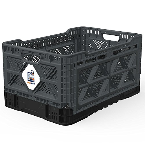 BIGANT Heavy Duty Collapsible & Stackable Plastic Milk Crate - IP543630, 12.7 Gallons, Medium Size, Charc.Gray, Set of 1, Absolute Snap Lock Foldable Industrial Storage Bin Container Utility Basket (Folding Plastic Crates)