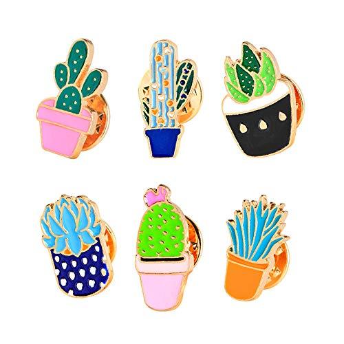 KUUCOL 6PCS New Creative Cute Cartoon Cactus Shape Brooch Badge Corsage Collar Brooch Label Pin for Girl (6pcs/set, mutilcolor)