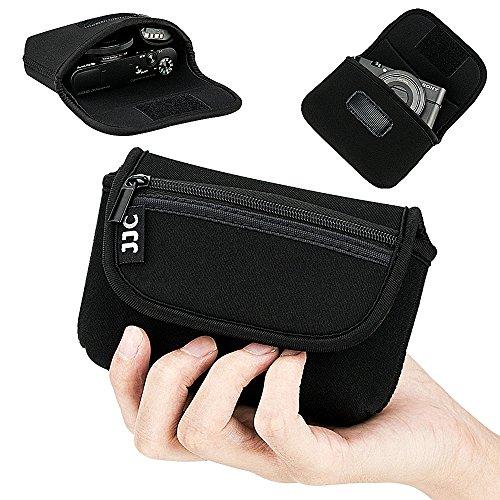 JJC Compact Camera Case Pouch for Sony RX100 VI V IV III II Canon G7X G9X MarkII SX740 SX730 SX720 Ricoh GR GRII Olympus TG-6 TG-5 TG-4 TG-3 TG-2 TG-1, w/Zippered Pocket & Battery Pocket - Black