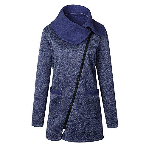 Cremallera Chaqueta Irregular Sudadera Gris Larga Collar Bozevon Coat Con Desgastar Mangas Invierno Bolsillo Señoras Oscuro Largas Mujer tgtxO8qX
