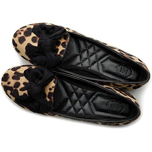 Ollio Kvinnor Balett Sko Faux Mocka Band Multi Färg Platt Leopard