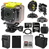 Coleman Conquest2 Wi-Fi HD Video Action Camera/Camcorder & LCD Watch Remote with Handlebar Bike & Adhesive Mounts + 32GB Card + Battery + Charger + Hard Case + Kit