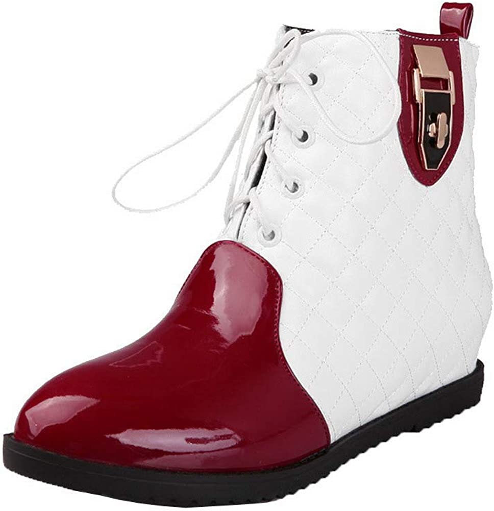 AmoonyFashion Womens Lace-Up Round-Toe Low-Heels Blend Materials Low-Top Boots BUSXT110624