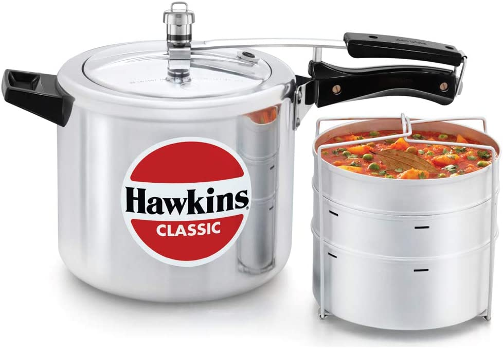 Hawkins Classic Aluminum Pressure Cooker with Separator, 6.5-Liter