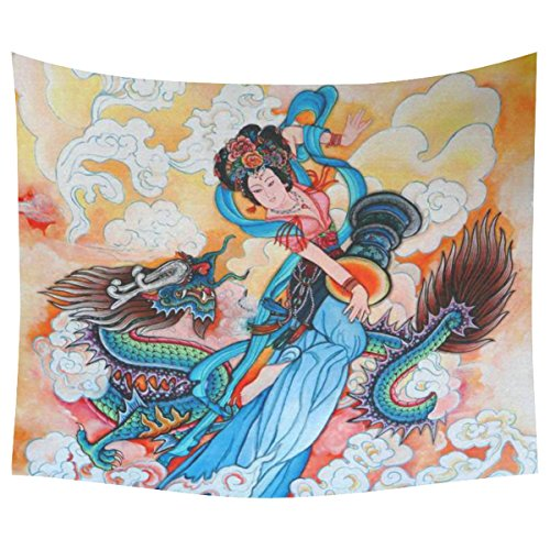 InterestPrint Asian Culture Home Decor Tapestries Wall Art, Traditional Chinese Painting Goddess And Dragon Tapestry Wall Hanging Art Sets 60 X 51 Inches ()