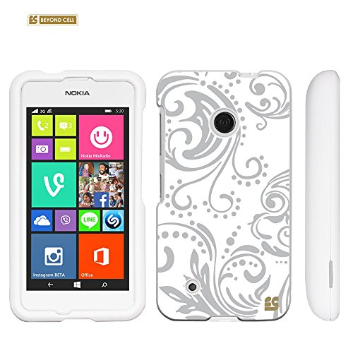 PhoneAidCase For Nokia Lumia 530 ( T-mobile / AT&T / International ) Art Design Image Hard Slim Fit Cellphone Case Cover Light Weight 2 Pieces Easy Snap on Durable Cell Phone Cases - Flower Swirls Greyn Design (Phone Case For A Nokia Lumia 530)