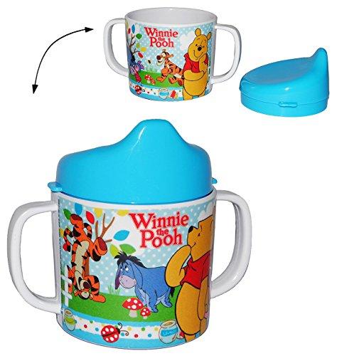 Trinklernbecher - Disney Winnie the Pooh - Melamin - blau für Jungen & Mädchen - Tasse mit abnehmbaren Deckel - für Baby auslaufsicher - Trinklerntasse Puuh Bär / Trinkbecher Kleinkinder - Kindergeschirr - Ferkel Esel Teddy