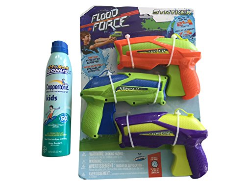 SwimWays Flood Force Stryker Water Gun, 3 Pack with Coppertone Kids Sunscreen 50 SPF by This is GR8