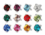 12 Pairs of Studex Ear Piercing Birthstones Stainless Steel Stud Earrings Mini 2mm Claw Setting