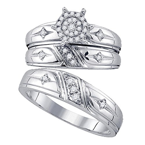 Illusion Set Cross - 10kt White Gold His & Hers Round Diamond Cross Cluster Matching Bridal Wedding Ring Set 1/4 Cttw