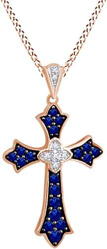 4.03 CTTW AFFY Fashion Pendant Necklace in 14k Gold Over Sterling Silver Round Cut Simulated Blue Sapphire /& White Cubic Zirconia