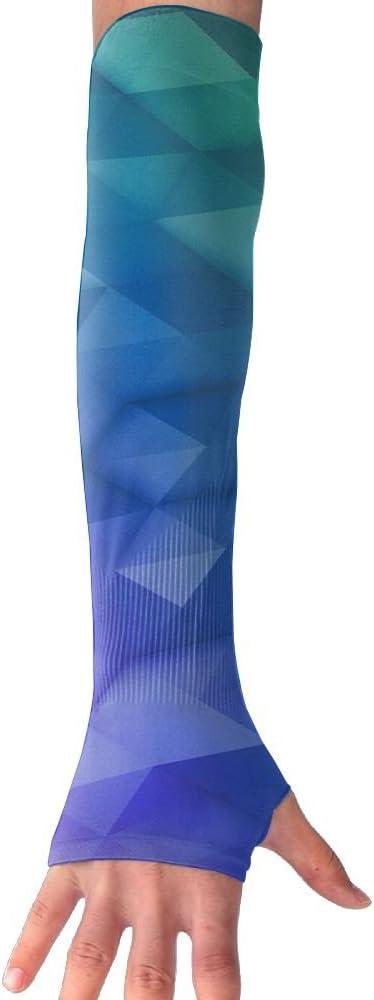 MASDUIH Geometric Squares Graphics Gloves Anti-uv Sun Protection Long Fingerless Arm Cooling Sleeve For Men And Women