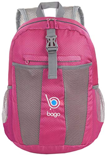 Bago 25L Lightweight Packable Backpack - Water Resistant Travel and Hiking Daypack - Foldable and Handy for Camping Outdoor Sports (Pink) (Travel Backpack For Kids)