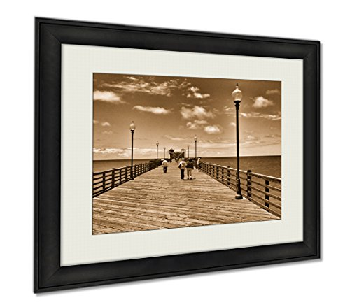 Ashley Framed Prints A Long Wooden Pier At Oceanside California USA, Wall Art Home Decoration, Sepia, 34x40 (frame size), AG6084439 by Ashley Framed Prints
