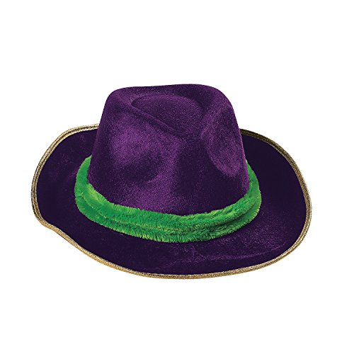 Fun Express - Mardi Gras Fedora for Mardi Gras - Apparel Accessories - Hats - Novelty Piece Hats - Mardi Gras - 1 Piece (Pimp Hat Velvet)