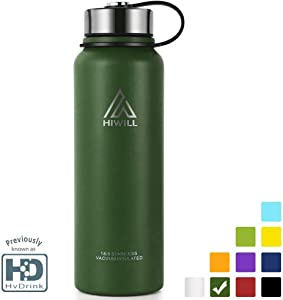 Hiwill Stainless Steel Vacuum Insulated Water Bottle, 24Hrs Cold,12Hrs Hot, 21OZ-50OZ Double Wall Thermos Flask, Travel Sports Leak Proof Drinking Bottle with Metal Strainer, BPA Free