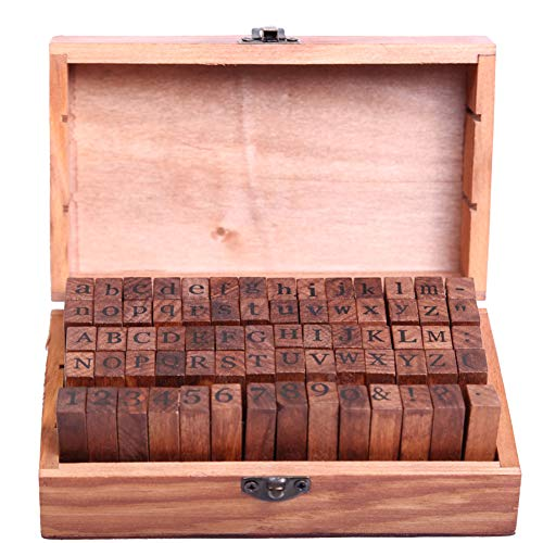 (70 Pcs Classic Vintage Retro Wooden DIY Number and Alphabet Letter Seal with Wooden Box Standardized Form Stamps Regular Script Letters)