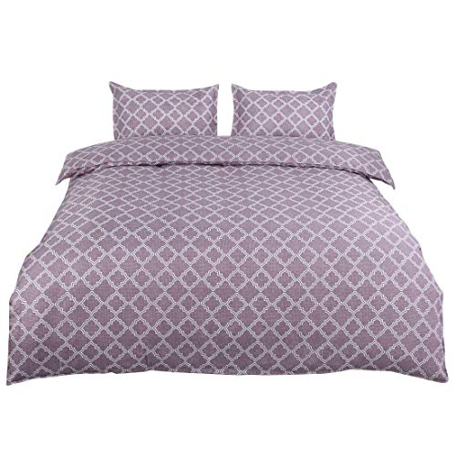 uxcell Bedding Geometric Printed Duvet Cover Set (Queen, Light Purple) - Double Brushed Velvety Microfiber - Comfortable, Breathable and Soft - Wrinkle, Fade & Stain ()
