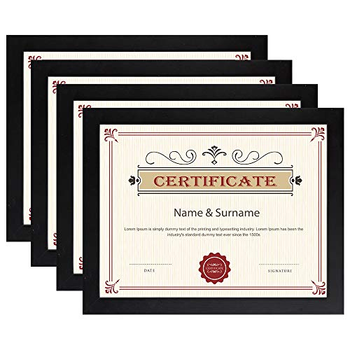 (Loveinside Diploma Frame 4 PCS 8.5x11 Black Certificate Frame for Degree Document Pine Wood Glass Wall and Desktop Display)