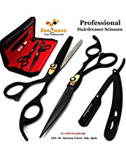 Saaqaans MSS-04 Stylish Hairdressing Scissors Set - Hair Cutting Scissor for Barber/Hairdresser/Hair Salon + Texture/Thinning Haircut Shear for Beautician + Straight Edge Razor + 10 Blades with Case (Red & Black Set AU)