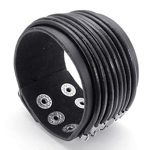 mendino Large Bracelet jonc tressé pour femme Punk Rock Noir Homme en cuir véritable pour 17,8cm à 20,3cm