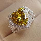 Noble Women Fashion 925 Silver Citrine Gemstone Ring Engagement Wedding Jewelry (8)