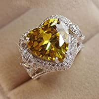Noble Women Fashion 925 Silver Citrine Gemstone Ring Engagement Wedding Jewelry (ุุุุ6)