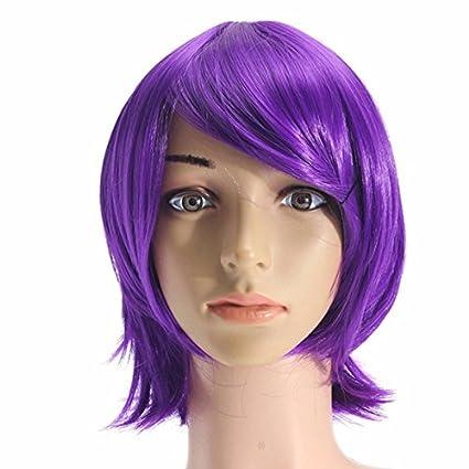 Bluelover Unisex Anime Púrpura Corto Peluca Completa Cosplay Partido Recta Pelo Pelucas Completas De Alta Temperatura