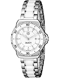 Womens WAH1313.BA0868 Formula 1 Stainless Steel Bracelet Watch with White Dial and Diamonds