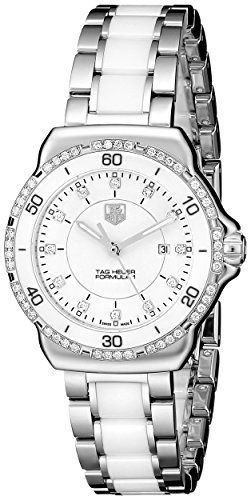 Diamonds White Dial - TAG Heuer Women's WAH1313.BA0868 Formula 1 Stainless Steel Bracelet Watch with White Dial and Diamonds