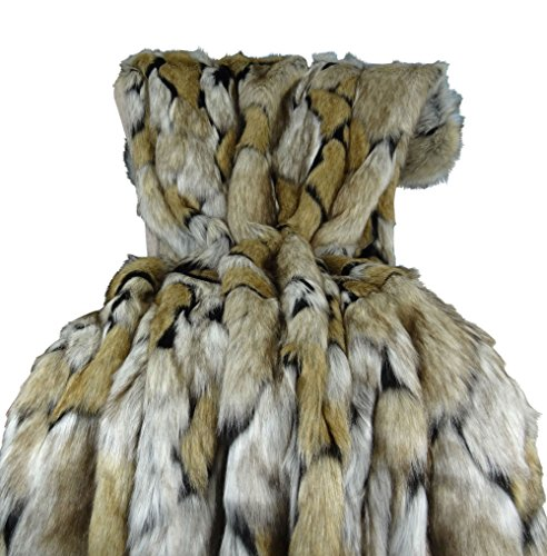 - Thomas Collection Wolf Faux Fur Blanket - Luxury Taupe Black Faux Fur Throw Blanket & Bedspread - Taupe Wolf Fur Throw - Super Soft Taupe Black Fur Blanket - Wolf Faux Fur, Handmade in US, 16484