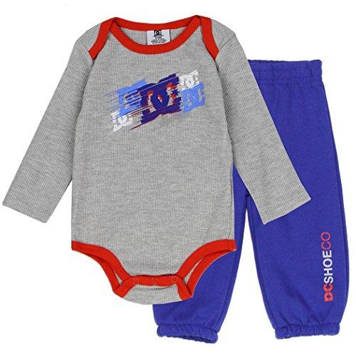 9ba3018c DC Shoe Co Baby Long-Sleeve Thermal Bodysuit and Pants Set, Grey, 6/9M