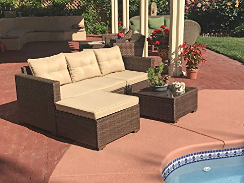 OC Orange-Casual Outdoor Patio Sectional Furniture, 4-Piece All-Weather Brown Wicker Sectional with Beige Seat Cushions & Glass Coffee Table | Patio, Backyard, Pool | Steel Frame