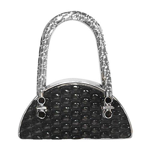 Bag Magnets (Jili Online Folding Handbag Purse Bag Hanger Durable Table Hook Hang Holder Shiny Rhinestone Decor - Black)