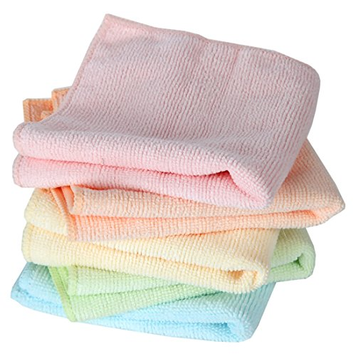 (Home-X Microfiber Washcloths in Pastel Colors. Set of 5 Wash Cloths)