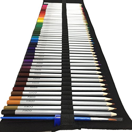 OOKU Watercolor Pencils Arist Set - 48 Dry Coloring Pencils/Wet Watercolor Painting - BONUS Wool Pencil Canvas Wrap, Watercolor Brush, Pencil Sharpener for FULL 51 Piece Kit