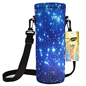 NEW HOT Sport Water Bottle Bag , BLUE SKY W/Twinkling stars 1000ml (1L / 1 Liter) Neoprene Insulated Adjustable Neoprene Sport Water Bottle Holder Case Cover Sleeve Bag Wide Mouth Pouch with Shoulder Strap