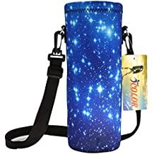 iColor 1L Water Bottle Carrier Holder Sleeve 34oz (1000 Milliliter) w/Adjustable Shoulder strap,Sling insulated Outdoor Sports Bottle Bag Case Pouch Cover,Fits Bottle Diameter less 3.34""