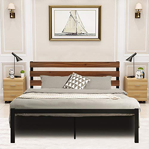 GreenForest Queen Bed Frame Metal Studio Platform Bed with Wood Slat Support Wooden Headboard No Box Spring Needed and Noise-Free