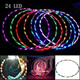 cymbilanfranX 24-LED Colorful Light 90CM Flashing Hula Hoop Fitness Sports Lose Weight Tool