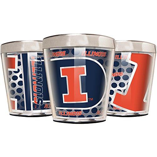 Illinois Illini Glass Fighting (NCAA Illinois Illini Acrylic and Stainless Steel Shot Glass Set (3-Piece), 2-Ounce, Silver)